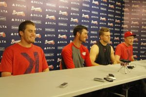 Sep 1, 2014; Atlanta, GA, USA; Philadelphia Phillies relief pitcher Ken Giles (53), starting pitcher Cole Hamels (35), relief pitcher Jonathan Papelbon (58), and relief pitcher Jake Diekman (63) are interviewed after a combined no-hitter against the Atlanta Braves at Turner Field. Mandatory Credit: Brett Davis-USA TODAY Sports