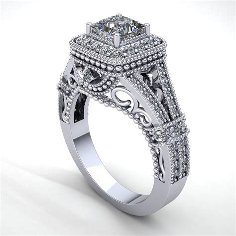 1carat Real Princess Cut Diamond Women's Milgrain Halo