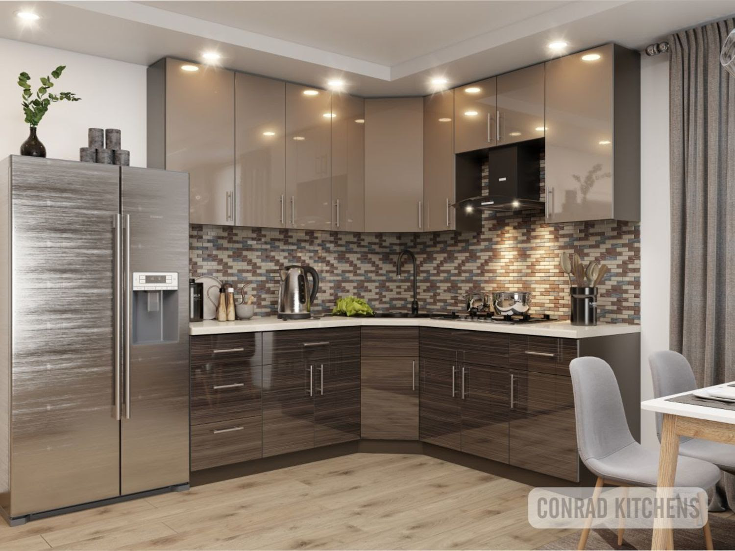Brown Zebrano Latte Acrylic Kitchen Choose Kitchen Cabinets Online At Affordable Price