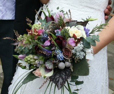 Wedding Bouquet, Metalina Roses, Picasso Calla, Tulips, Orchids,  Albiflora, Hyacinth, Muscari.
