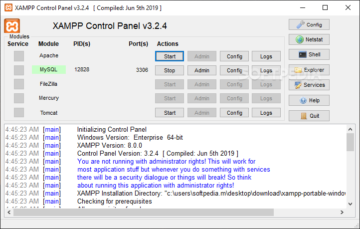 Free download software: portable xampp 1. 6. 8.
