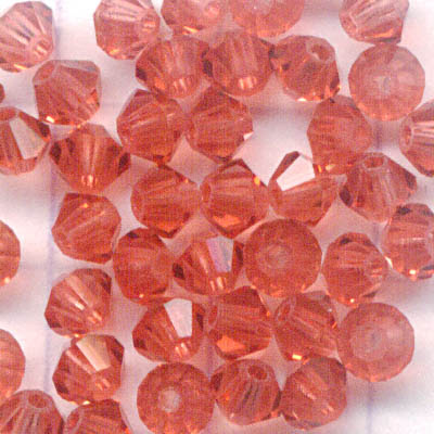 27753011034542 Swarovski Bead - 3 mm Faceted Bicone (5301) - Padparadscha (36)