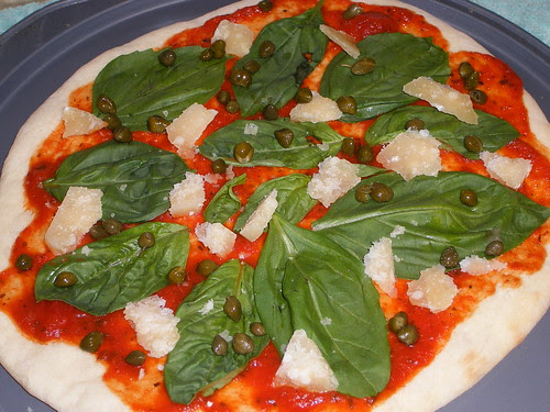 Caper and Basil Pizza Before Baking