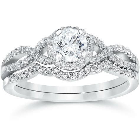 3/4ct Diamond Infinity Engagement Wedding Ring Set 14K