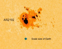 Scale size of Earth compared to AR2192 on Oct. 20 (NASA/SDO/AIA. Edit by J. Major.)