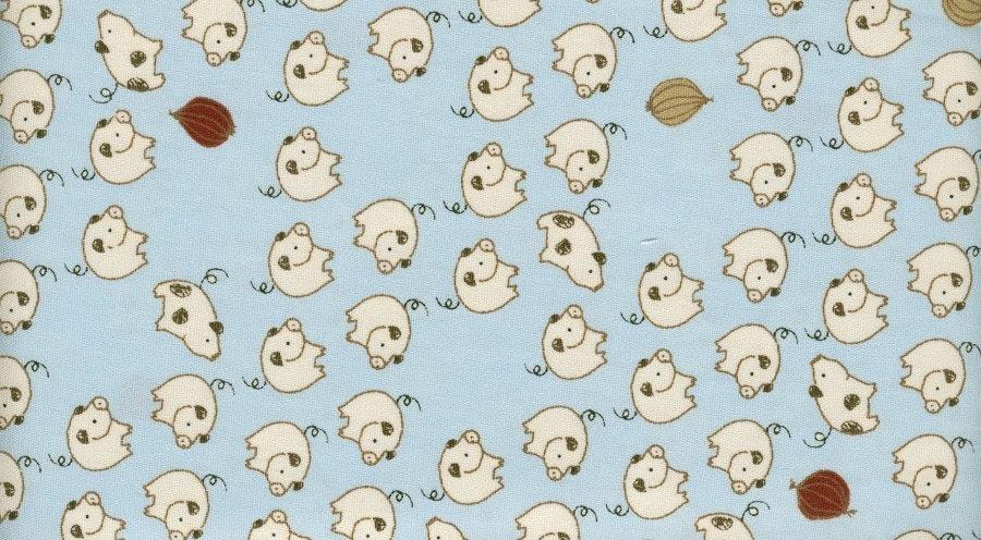 White Line Pigs on Blue - Japanese Cotton Fabric Fat Quarter