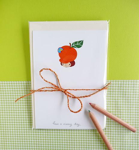 orange girl note card on MerryDay Etsy