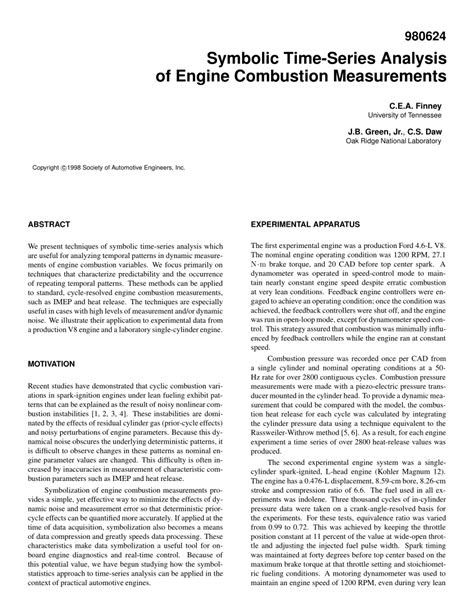 (PDF) Symbolic Time-Series Analysis of Engine Combustion