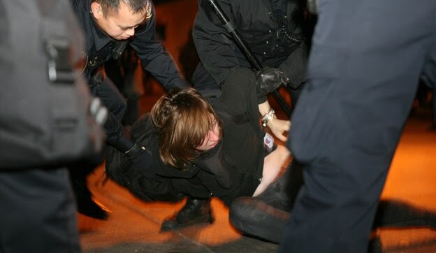 A protester from Occupy Oakland — the local offshoot of Occupy Wall Street — is arrested in Oakland on January 28.