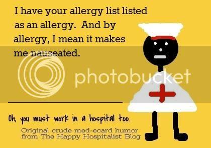 Allergy list listed as an allergy Ecard humor photo