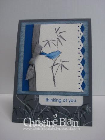 Asian artistry blue & grey card