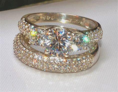 3.0CT ROUND CUT THREE STONE ENGAGEMENT RING WEDDING BAND