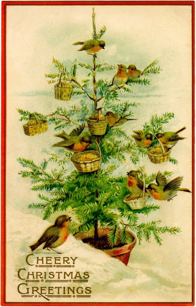 Vintage imagen Pájaros del árbol de navidad