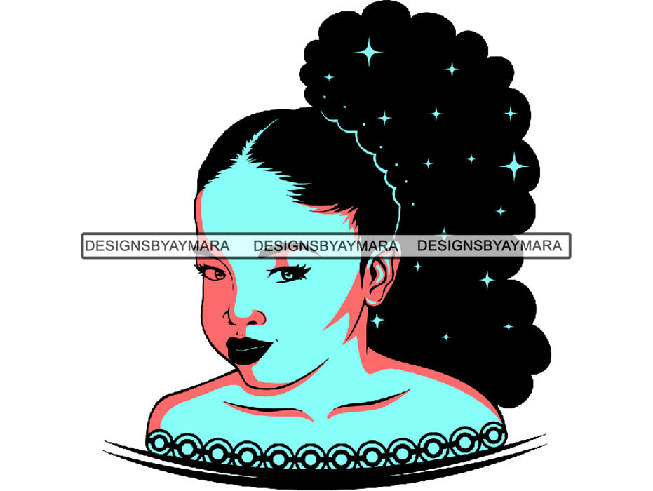 Download Afro Beautiful Baby Girl SVG Color African American ...