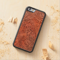 Western-styled Tooled-Leather-look on Wood Case Carved® Maple iPhone 6 Bumper