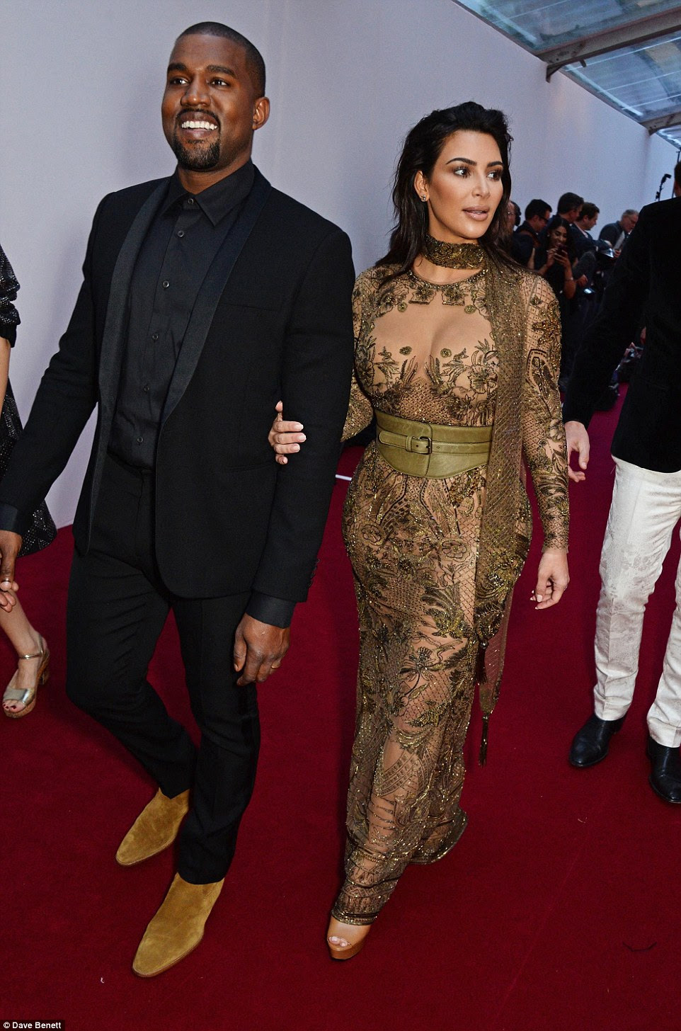 Taking it Yeezy: Even Kanye cracked a smile at the excitement of the uber-stylish affair