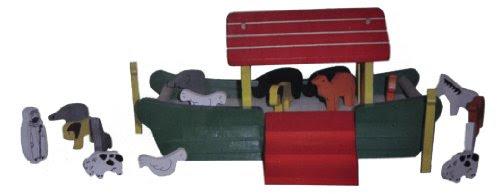 Arche de Noé en bois - Personnage et Animaux en bois