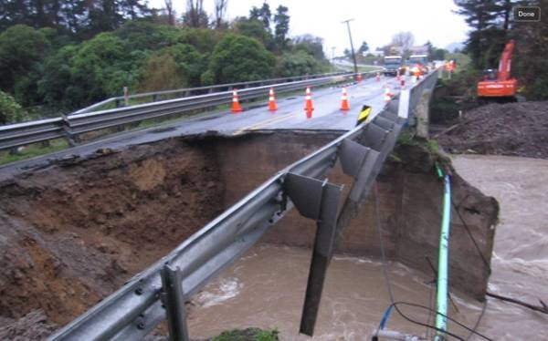 The damage at Waikawa Bridge on State Highway 1. NZTA say the road will likely not be open until tomorrow morning.