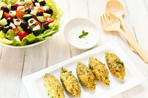 veggie kofte, reiki, greek salad