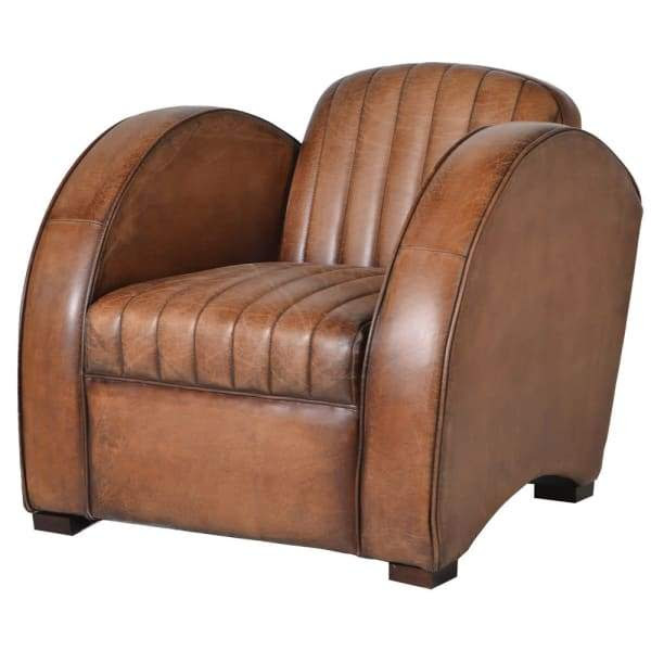 Art Deco Style Leather Armchair Vintage Frog
