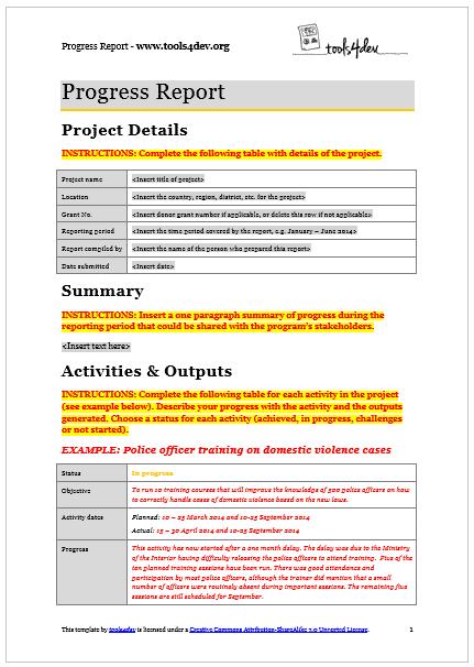 progress report template screenshot