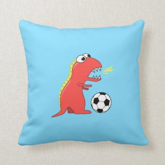 Funny Cartoon Dinosaur Playing Soccer Kids Pillow