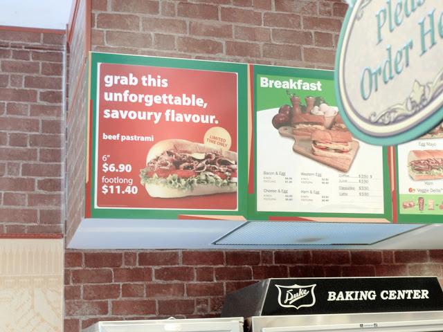 beef pastrami subway signboard