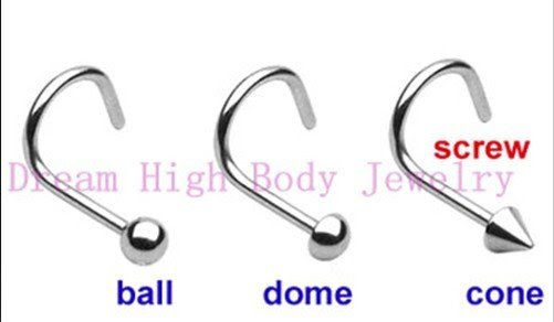 Screw Nose Ring Stud Piercing Fancy Body Jewelry 200pcslot Ball