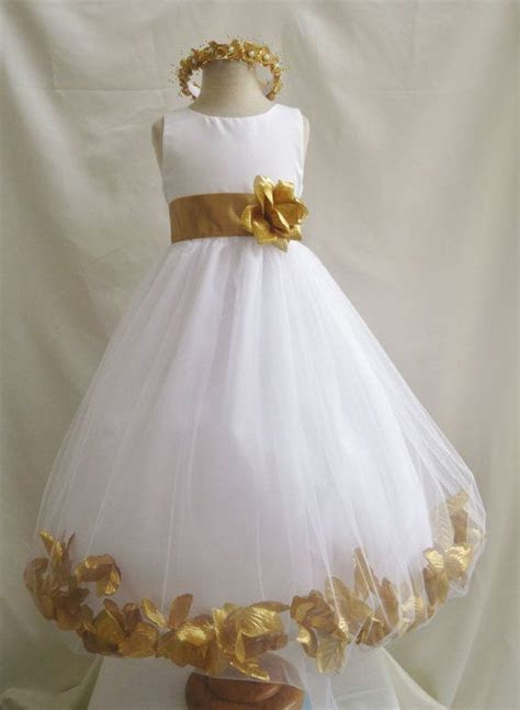 So cute! Gold and white flower girl dress with golden