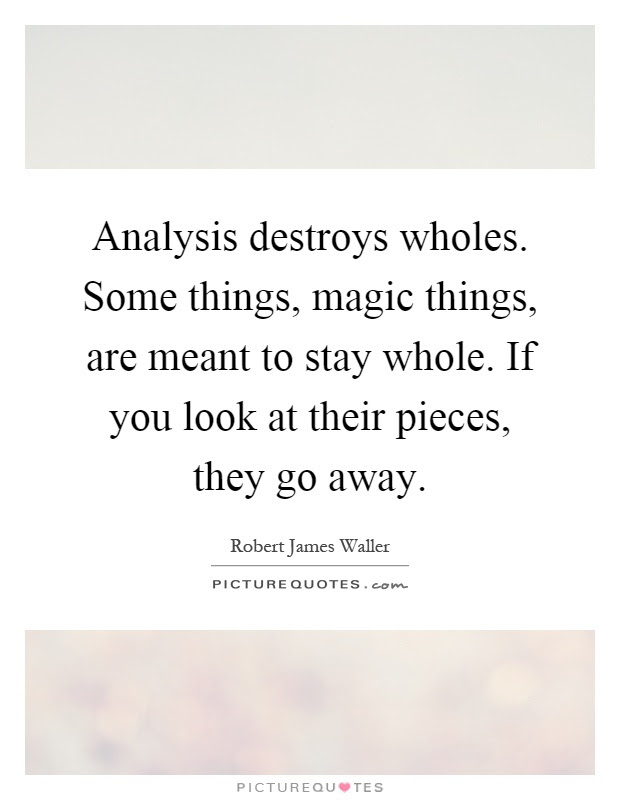 Analysis Destroys Wholes Some Things Magic Things Are Meant