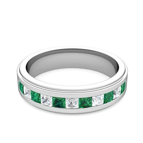 princess cut diamond  emerald mens wedding band platinum