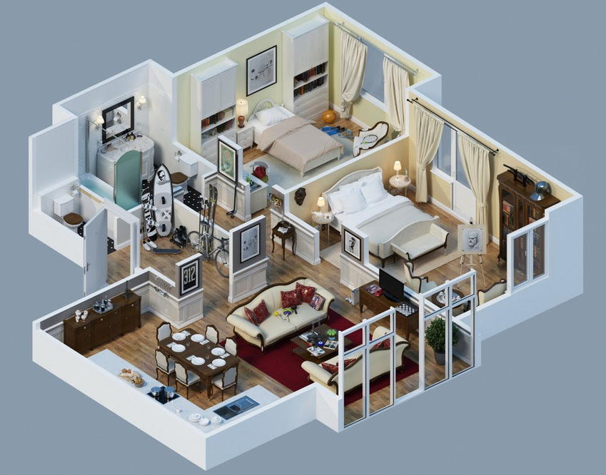 Apartment Designs Shown With Rendered 3D Floor Plans - 3D Modern House Plans Projects Collection Architecture Design Homedesign In 2019