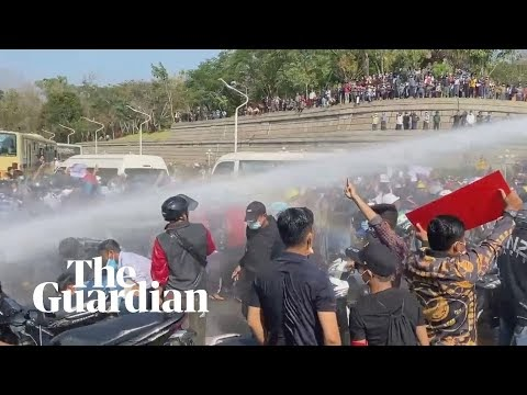 Myanmar police fire water cannon at anti-coup protesters