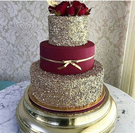 Burgundy and gold cake for wedding   Burgundy wedding