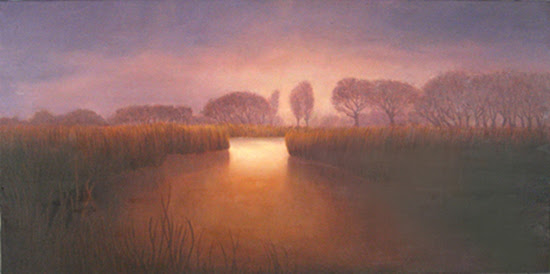 Katherine Kean, Slow Release of the Day, contemporary landscape painting, sunset, tonalism, Malibu Lagoon, tranquil, warm palette, red, burnt orange, violet, panoramic