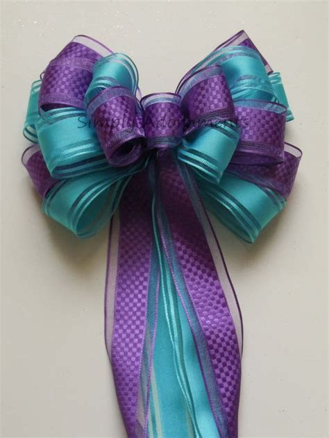 Blue Purple Bow Purple Blue Peacock Wedding Pew Bow Aqua