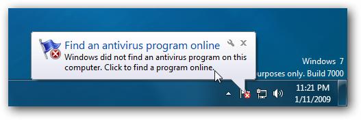 Windows 7 Find Antivirus Program Online Balloon