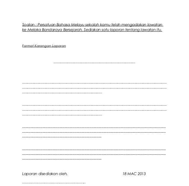 Contoh Soalan Karangan Laporan Pt3 Terengganu S