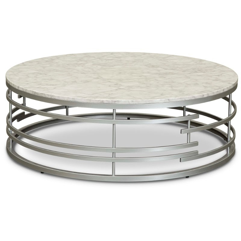 Round Marble And Silver Large Coffee Table Brassica Rc Willey Furniture Store