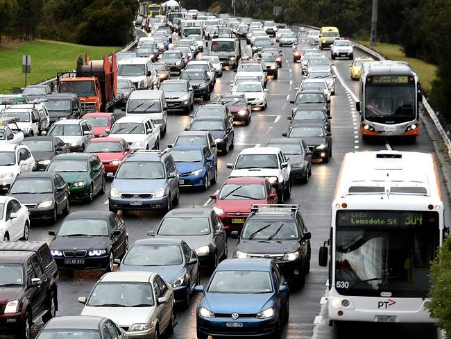 Unhealthy: Gridlock on the Eastern freeway in Melbourne. Picture: Nicole Garmston