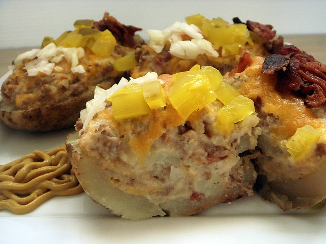 bacon cheeseburger twice baked potatoes