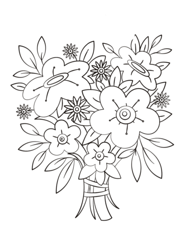 Flowers Bouquet Coloring Page Free Printable Coloring Pages