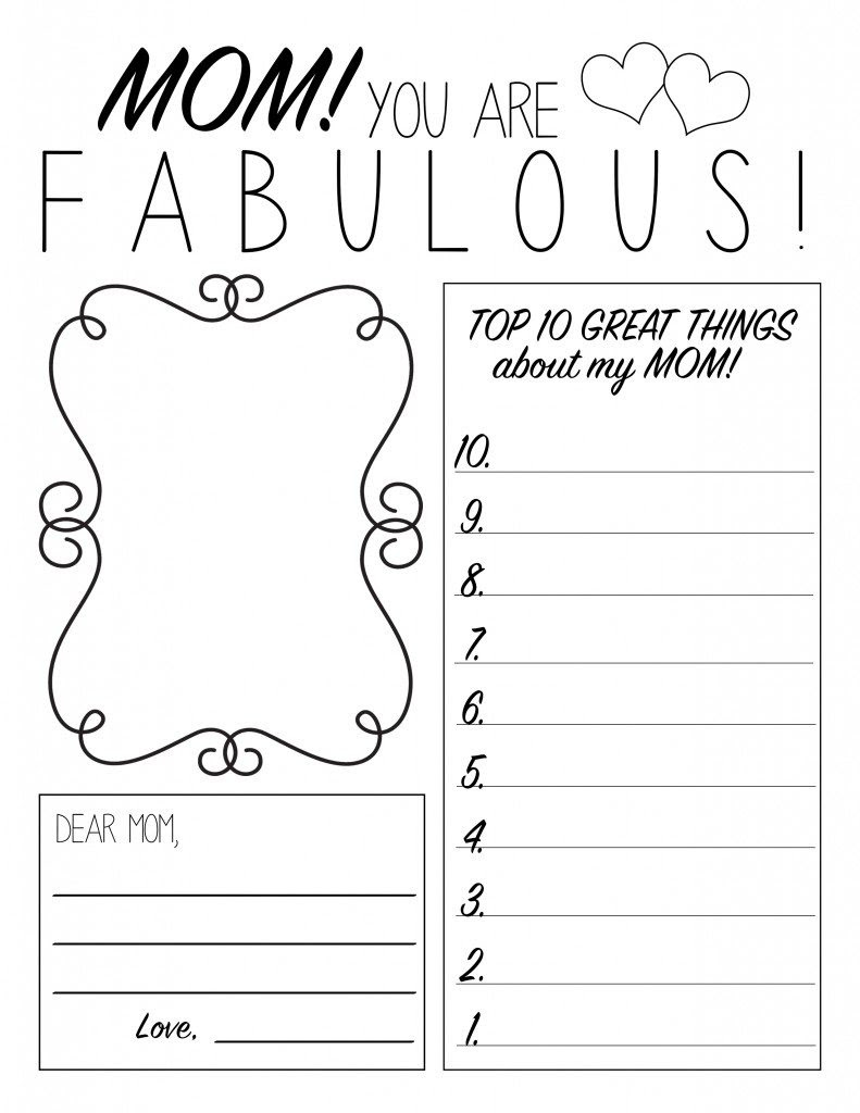 Mother's Day Printable Worksheet