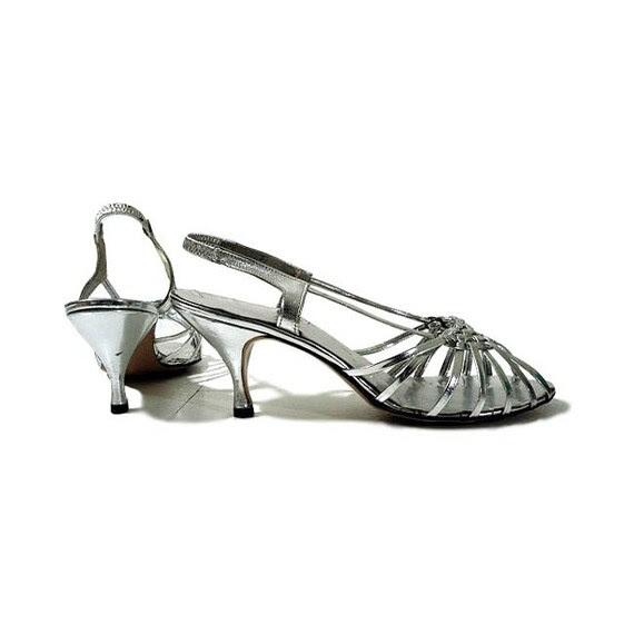 Strappy Silver Vintage 60's Kitten Heels - Woven Mercury Size 7