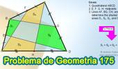 Problema de Geometría 175 (ESL): Cuadrilátero, Puntos medios de los lados, Suma de Áreas de Cuadriláteros Opuestos.