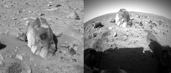 Two photos of the Humphrey rock that was studied by the Spirit rover