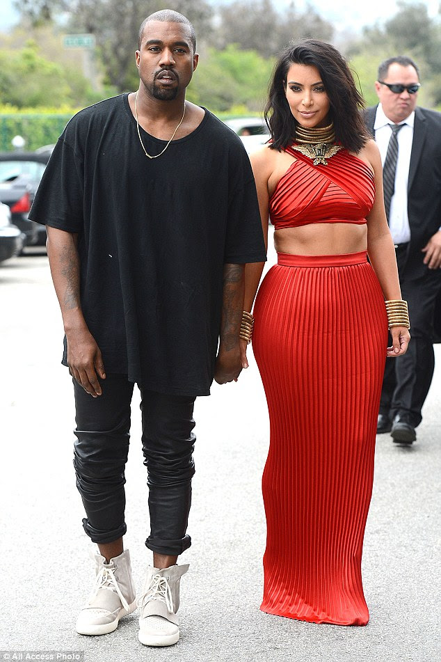 Big reveal:On Saturday, Kanye West  stepped out in his highly anticipated Yeezy 3 sneakers - and wife Kim Kardashian - at the Roc Nation Brunch in Beverly Hills, California