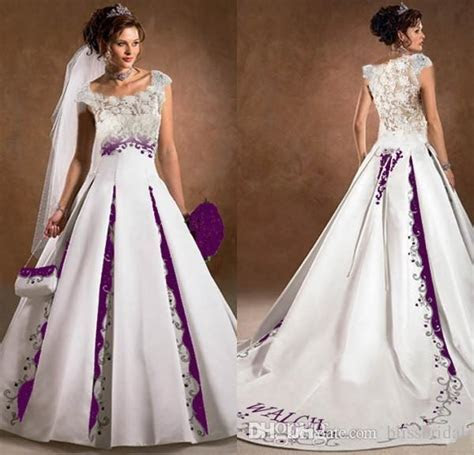 Purple And White Wedding Dress A Line Satin Lace