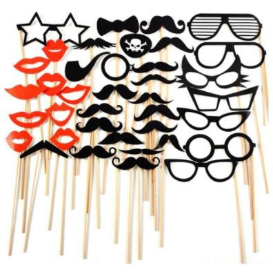 Fun Photo Booth Props On Wooden Sticks 38 Pieces In A Pack