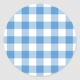 Light Blue and White Gingham Pattern Round Sticker
